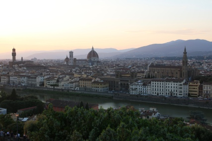 Florence skyline including the Duomo at sunset