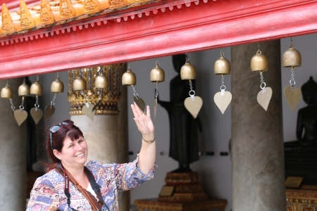 Belinda ringing the bells.