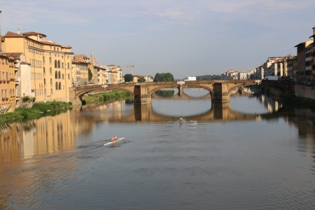View from the Ponte Vecchio towards the Ponte S Trinita