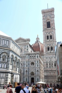 One side of the Duomo during the day