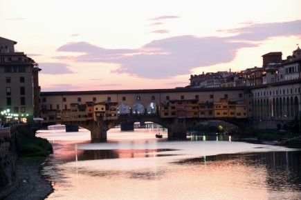 Sunset over the Arno River facing the Ponte Vecchio