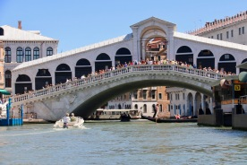 The Rialto Bridge from the water