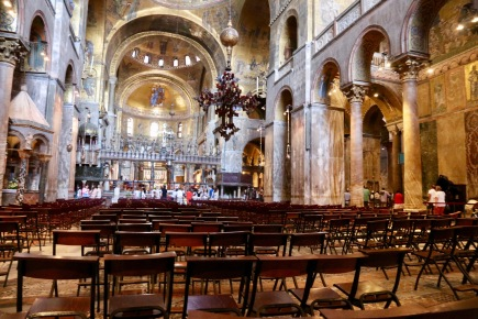 The inside of the Cathedral - notice the rows of chairs