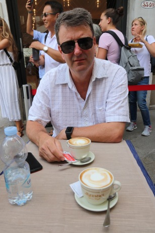 Phil having a cappuccino at the Rialto Bridge