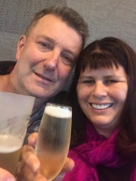 Having drinks the night before our flight at Rydges