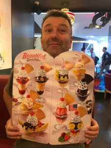 Phil with one of the pages from the Swenson's menu