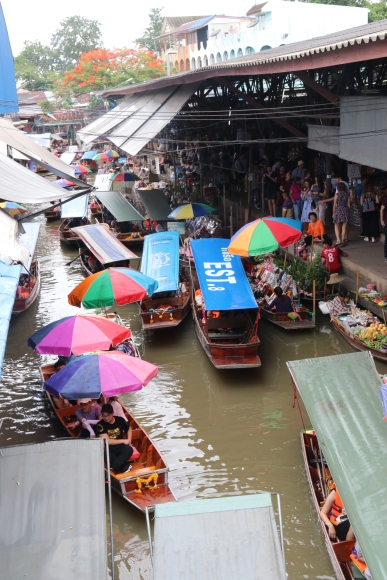 View from a bridge looking onto the floating markets