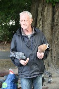 Guy feeding the pigeons in St Stephen's Green