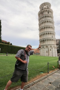 Phil helping the Leaning Tower stand up!