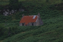 Close up of the red roof house