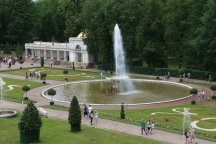 Looking down on some of the fountains in the Lower Park