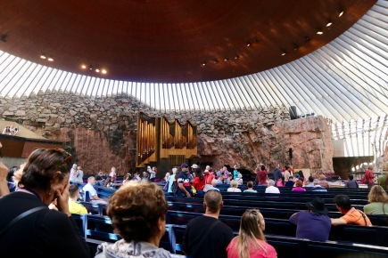 Interior of the Rock Church where you can see the copper roof
