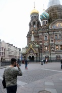 Everyone is playing soccer - even in front of the Church of our Saviour on Spilled Blood