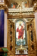 The stained glass and front altar in St Isaac's Cathedral