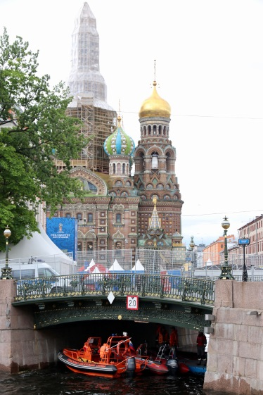 The Fan Fest site in the shadows of the Church of our Saviour on Spilled Blood