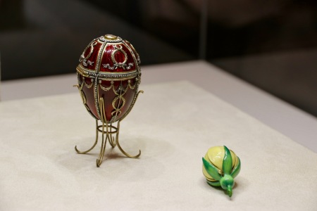 The Rosebud Egg, 1895. This egg symbolises love and was presented by Emperor Nicholas II to his wife Empress Alexandra Feodorovna just after their marriage. The rosebud was inside the egg and inside the rosebud was a diamond set crown and a ruby drop - which have been lost. This story of love really moved Phil.