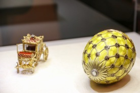 The Coronation Egg, 1897. The surprise inside was the miniature carriage which is a replica of the 18th Century carriage by Buckendahl. This once contained an emerald drop and then later a yellow briolette diamond - which have both been lost.