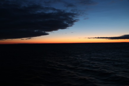 Sunset at 11:55 pm sailing out of Russia