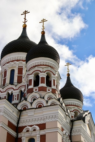 Close up of the domes of the Alexander Nevsky Cathedral