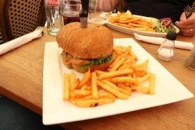 Chicken burger and fries - although it did have traditional Danish dressings such as curry mayonnaise and some kind of pickles