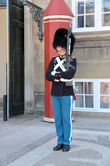 A palace guard at Amalienborg Palace Copenhagen
