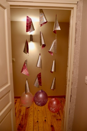 Balloons and pennants at my door
