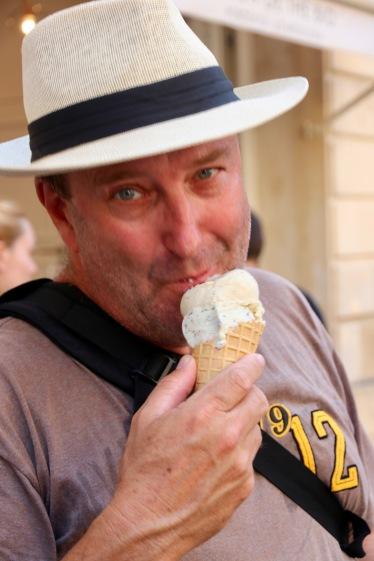 Phil enjoying his ice cream