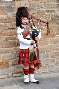 Playing the bagpipes - Edinburgh