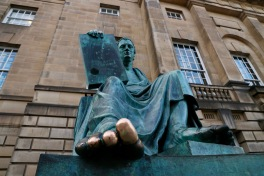 David Hume statue on The Royal Mile. Rubbing his toe is supposed to bring good luck, although his philosophy was that you should work hard to be rewarded.