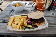My hamburger and chips