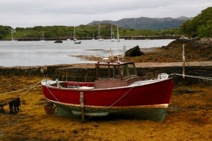 Boat at Badachro at low tide