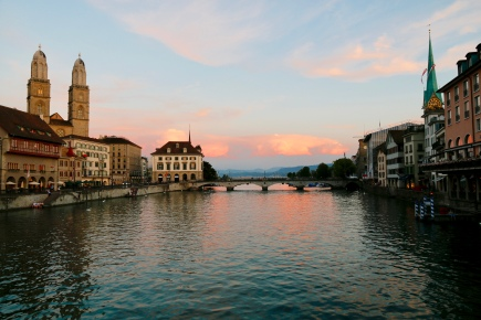 Sunset over the River Limmat