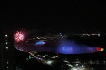 Fireworks and Niagara Falls at night