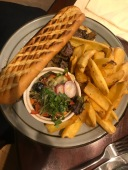 Phil's steak sandwich and chips