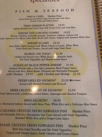One of the pages of the menu