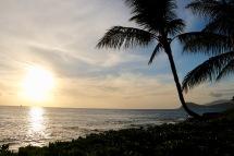 Sun setting over Paradise Cove