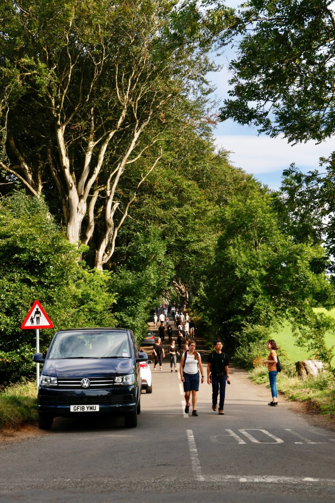 The crowds as we were leaving the Dark Hedges