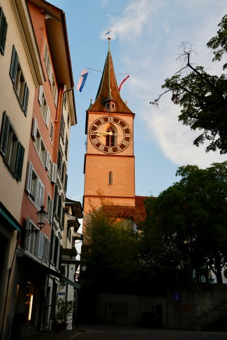 Setting sun on one of the clocks in Zurich