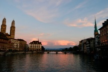 Sunset over the River Limmat in Zurich