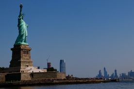 Statue of Liberty with the Manhattan skyline