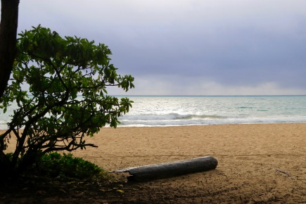 Hawaiian beach with the weather closing in