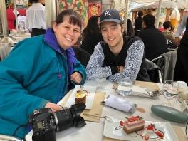 Bel and Dallas at the cafe, Hiroshima