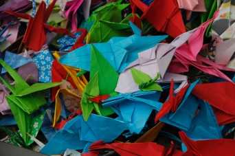 Paper cranes, wishes for peace, at the Children's Peace Monument. Hiroshima