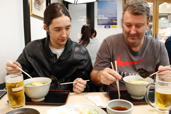 Phil and Dallas having the udon noodles at from Yakigaki-No-Hayashi, Miyajima Island, Japan