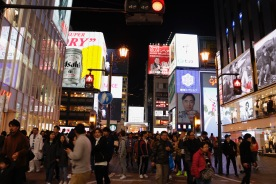 About to cross the Dotonbori Canal at the shopping street, Osaka, Japan