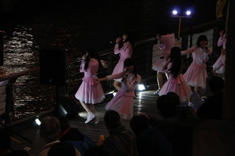 Girls singing and dancing in Dotonbori, Osaka, Japan