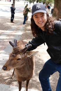 Dallas making friends with a deer, Nara, Japan