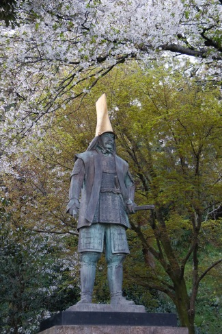 A statue near Kanazawa Castle, on the pathway back to the hotel, Kanazawa, Japan
