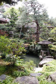 Gardens from one of the rooms at Nomura Samurai House, Kanazawa, Japan