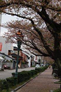 Street scene next to Saigawa River, Kanazawa, Japan